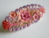 Pastel Floral Filigree Brooch - Faux Filigree