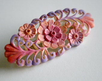 Pastel Floral Filigree Brooch - Faux Filigree
