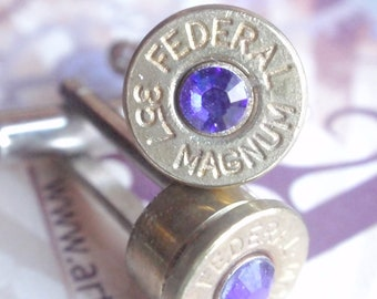 Bullet Cufflinks Brass 357 Magnum Jewelry With Feburary Birthstone Gem Up Cycled  Repurposed Cuff Links