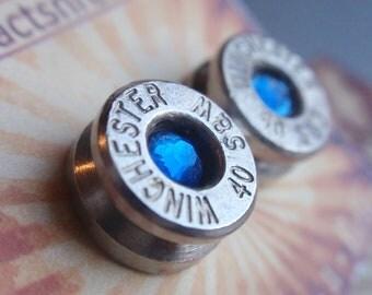 Bullet Jewelry Earrings  - 40 Caliber Stud w gem Bullet Jewelry Stud style earrings Nickel plated silver