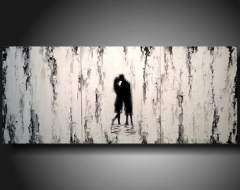 Large Black and White Silhouette painting White and black Textured  modern Original 3 piece 20x48 CUSTOM JMJArtstudio