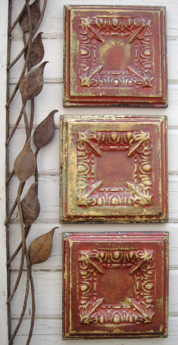 All 3 Antique Ceiling Tin Tiles Circa 1910 Original