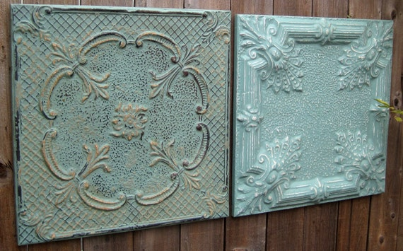 RESERVED LISTING for Marji.  TWO 2'x2' Antique Ceiling Tiles.  Framed & Ready to Hang.
