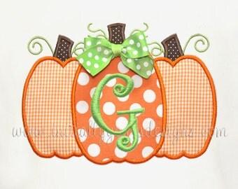 Girls Pumpkin Trio Shirt/Onesie-Personalized Pumpkin Shirt-Short or Long Sleeve-Great for Fall, Halloween, Thanksgiving
