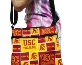 Cross Overbody Bag USC Trojans Pattern Shoulder Bag Purse cotton fabric, new, rare