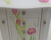 Large white hanging jewelry box with four drawers,hand painted,pink tulips, yellow butterflies,Personalized,girl jewelry box,kids boxes