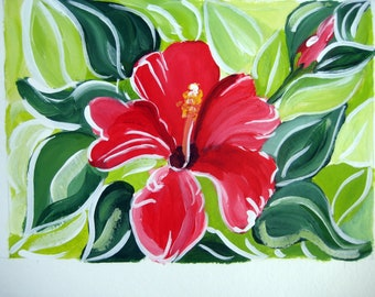 """An original acrylic painting of a hibiscus flower titled """"confidence"""""""