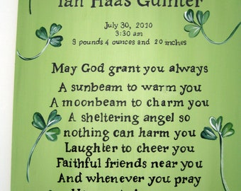 Irish Blessing personalized for a little boy with shamrocks,green,personalized Irish blessing,Irish Blessing,kids blessings,babys blessings
