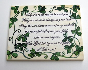 An Irish blessing in white and cream with shamrocks,shamrocks, Irish blessing,Irish Blessing wall art,Irish blessing painting,Irish blessing