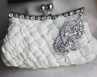 Ivory Bridal Satin Clutch - with Swarovski Crystal  brooch - made to order