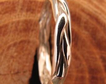 Half Round Braided Silver Stacking Ring