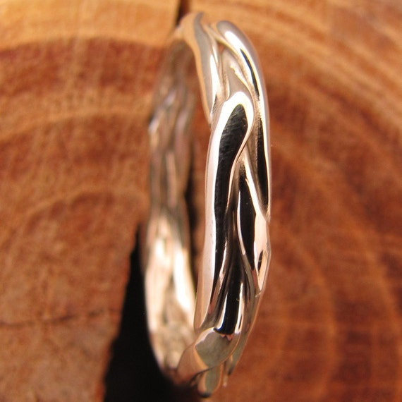 Half Round Braided Silver Stacking Ring