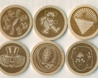 GRATEFUL DEAD Magnets - Set of 10 Laser Engraved wooden Magnets. Deadhead Gift Jerry Garcia. Great Christmas Gift or Stocking Stuffer.