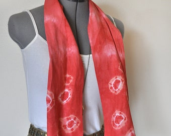 """Red Linen Scarf - Scarlet Red Hand Dyed Tie Dye Circle Design Hand Made Linen Scarf #27 - 8x50"""""""