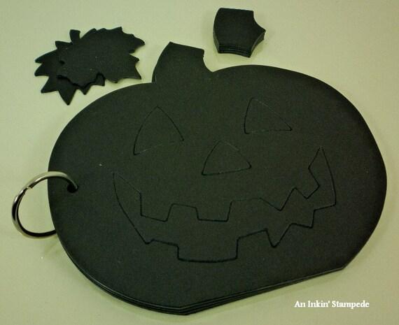 Chipboard Album-Black Pumpkin, Jack-0-Lantern,