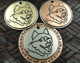 Handmade Husky ID Tag-Custom Husky Malamute Dog ID Tag-Dog Tag for Dogs