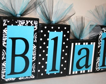 Blakely Collection -Damask, Polka dots and Stripes Personalized Blocks - Black, White and Turquoise