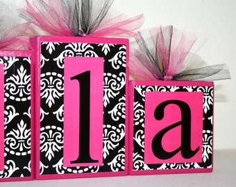 Mila Collection - B&W Damask and Hot pink Name blocks -Baby - Baby Shower-