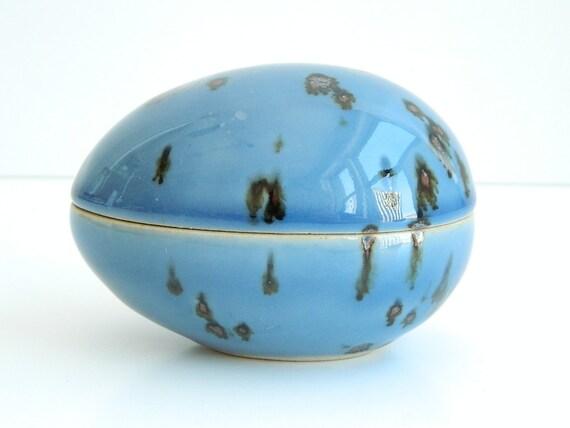Dansk blue ceramic egg trinket box