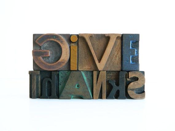 Give Thanks Vintage Wood Letterpress Type Set