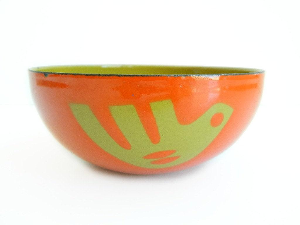Hanova Pasadena Enamel Dove Bowl Orange and Olive Green