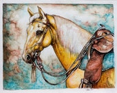 Custom horse portrait - commission a likeness of your horse- pen and ink