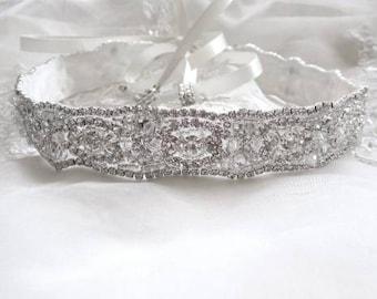 Bridal Crystal Headband Headpiece Ribbon