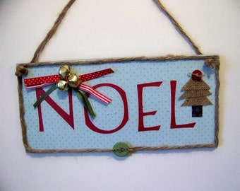 NOEL Primitive Christmas Decor Handmade Wooden Sign