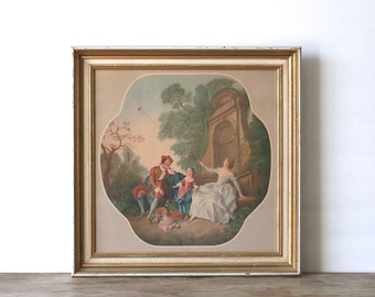 Mid Century Framed Print 17the Century Courtship Tethered Bird  Romantic Fragonard Style