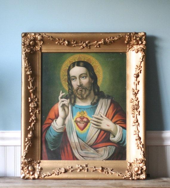 Circa 1930s  Jesus Sacred Heart Litho Heavy Ornate Gesso Frame