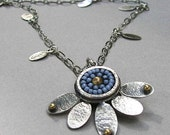 Handcrafted blue lotus flower sterling silver and beaded necklace
