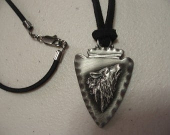 Antiqued Silver Plated Arrowhead with Wolf Head Choker/Necklace