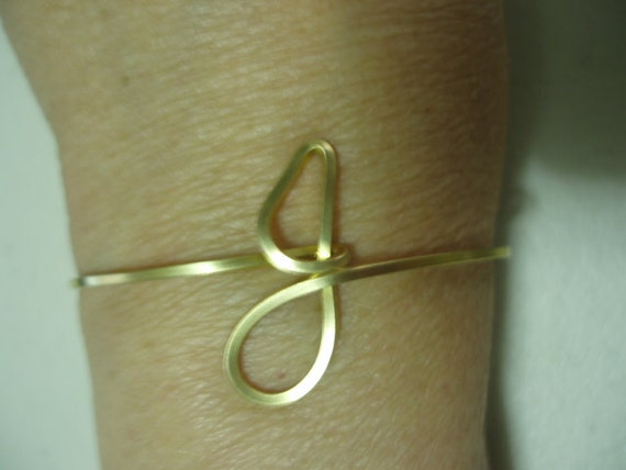 Initial wire cuff bracelet letter j by chuxgrafix on etsy for Letter j bracelet