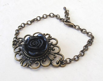 Black Rose Bracelet in Filigree Brass, Black Flower Bracelet, Victorian Bracelet
