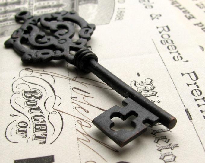 Large antiqued pewter skeleton key pendant from Bad Girl Castings - dark, distressed, aged black pewter,  two sided barrel shaft  CH-SC-020