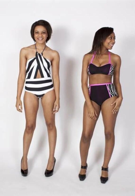 SALE Roxie Zebra- High Waisted Bikini Bottoms with Hot Pink Piping