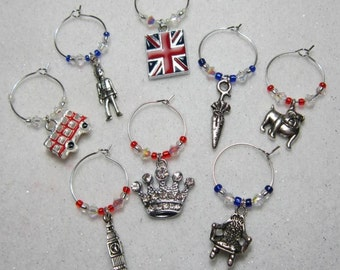 Wine Glass Charms - Great Britain London olympics royal Jubilee wine glass charms unique Party novelty table decoration UK