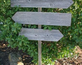 Blank DIY Triple Board Wood Wedding Sign on Stake Rustic Western Directional 4 Foot Stake