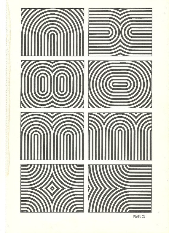 vintage optic illusion art print book plate black and white pop art design framable retro home decor mod hippie abstract picture 23 & 24