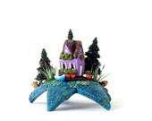 Summer Bloom Fairy House  - Lilac Fairy Boathouse Upon a Star with Cat Tails and Lily Pads