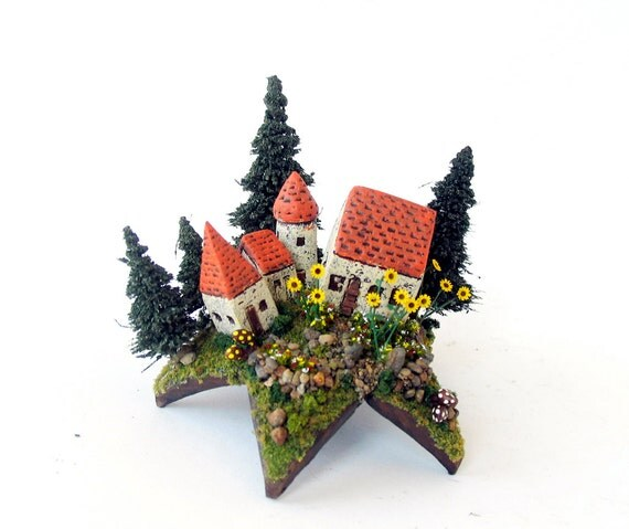 Summer Bloom Fairy House Series - Miniature French Provence Farmhouse Upon a Star with Sunflowers by Bewilder and Pine