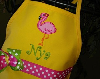 Personalized Flamingo Apron - Kids Apron - Adult Apron - Yellow Apron - Girl Apron - Zoo Life Apron - Bird Apron - Mommy and Me Apron