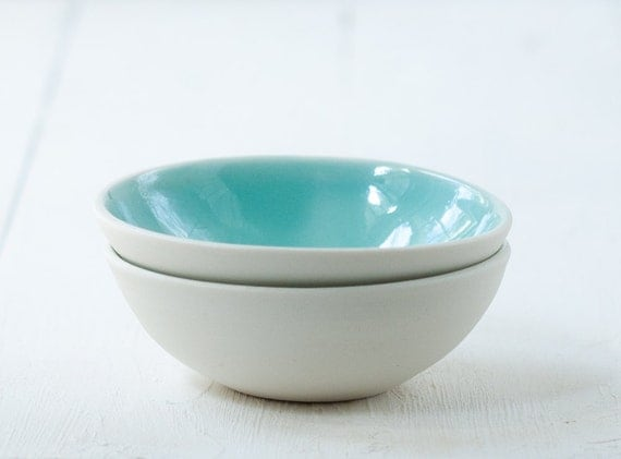 Mini Bowls in Aqua and White