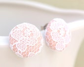 Blossom Stud, Light Pink Lace Earrings, Fabric Covered Button Earrings, Button Earrings, Surgical Steel Earrings, Pastel Pink Studs