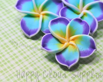 Large Purple, Aqua Blue, and Yellow Polymer Clay Plumeria Frangipani Flower Beads... 4pcs
