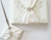 Wedding Guest Book and Pen Set with Beaded Alencon Lace, Ivory Sash Cinched by Crystals
