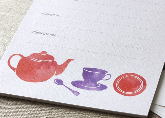 Tea Party Invitation Set 10 Pack - Red and Purple Watercolor Vintage Tea Set, Kitchen Tea, Bridal Shower, Birthday Party