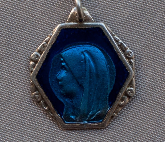 Antique Holy Virgin Mary Bright Blue Enameled Religious Medal