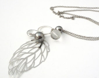 Long Silver Leaf Necklace, Long Pearl Necklace, Long Leaf Necklace, Silver Pearl Necklace, Long Silver Pendant Necklace, Gift for Her