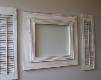 16x20 Distressed Open Back Picture Frame Vintage White Grey Washed with Railed Trim for Canvas or Portrait